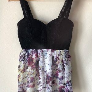 Black lace and flower design tank top